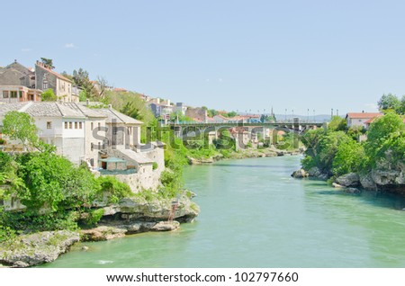 Mostar, Bosnia and Herzegovina - Neretva river - stock photo