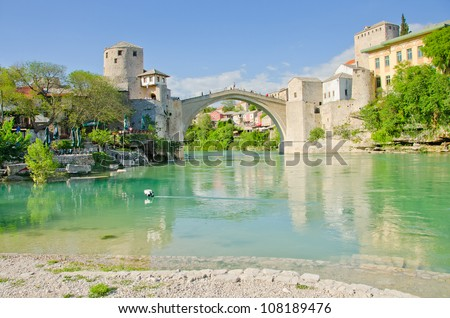 Mostar, Bosnia and Herzegovina - Neretva river and Old Bridge