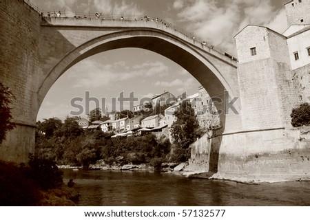 Mostar with the famous bridge, Bosnia and Herzegovina, sepia image