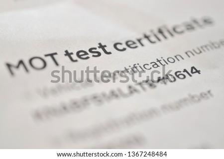 Mot test certificate Photo stock ©