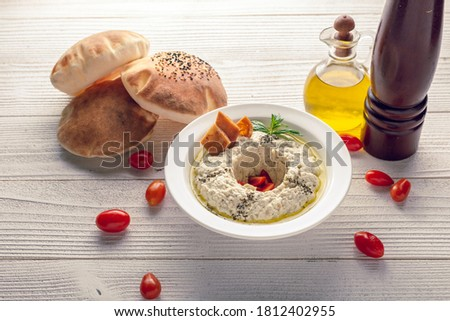 motabal with bread oil and tomato  Foto stock ©