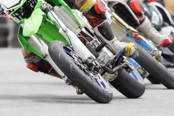 Motard motorcycle in corner of track