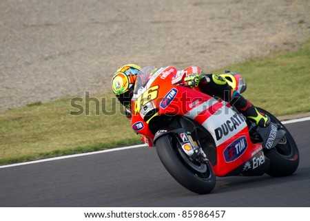 MOTEGI, JAPAN - SEPTEMBER 30:  Italian Ducati rider Valentino Rossi during free practice on first lap at 2011 MotoGP of Japan on September 30, 2011 in Motegi, Japan.