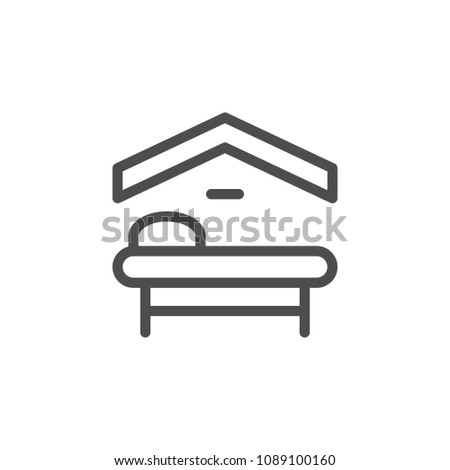 Motel line icon isolated on white