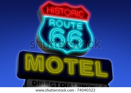 motel sign on route 66 usa