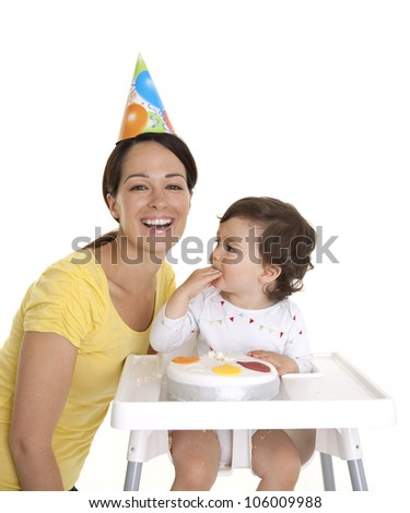 Mother and baby celebrating 1st birthday