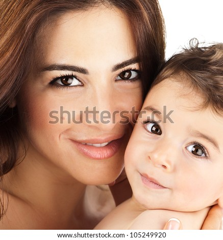 Mother and baby closeup portrait, happy faces, Arabic family picture, adorable small boy, mom and kid having fun indoor, parents joy, holding little child, healthy toddler and mommy, happiness concept