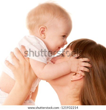 Mother and baby kissing. Motherhood concept.  Isolated on white background.