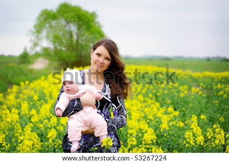 mother and baby outdoors