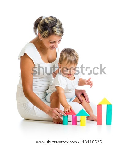 mother and baby playing with building blocks toy isolated on white
