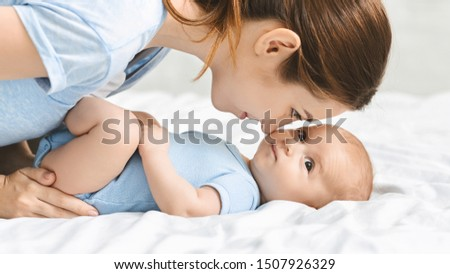 Mother and child connection. Young woman looking at her newborn baby with adoration, closeup portrait, panorama #1507926329