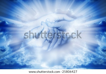 mother and child in tender gesture in divine rays of light