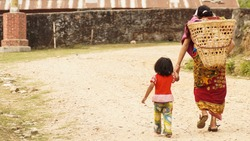 mother and child in the third world country Nepal