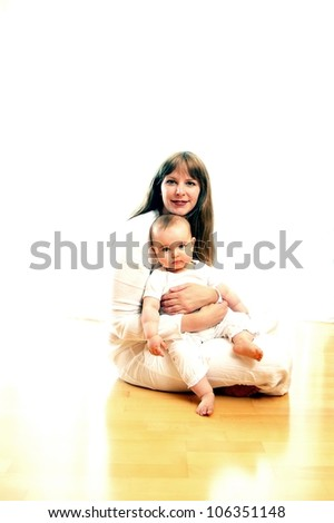 Mother and child in with dress