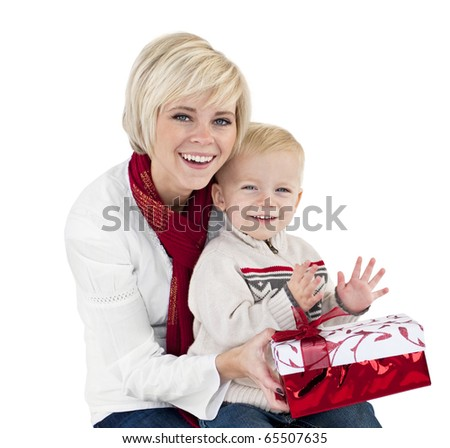 Mother and Child Opening Christmas Presents