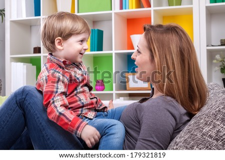 Mother and child singing a song #179321819
