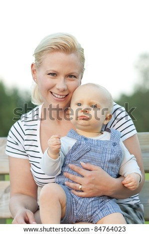 Mother and child spending time to