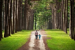 Mother and child walking to home. Their family lives in the forest. They are a forester. Parent use this path to the city. It's not dangerous for the baby. But the tree give  good ozone for the kid.