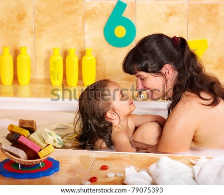 Mother Bathing Child In A Bathroom Stock Photo Hot Girls