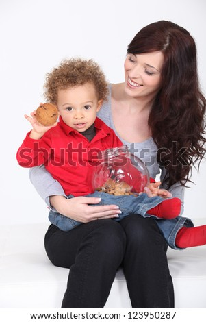 Mother and Child with cookie jar