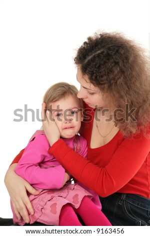 Mother and crying daughter