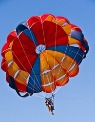 mother and daughter are parachute descent