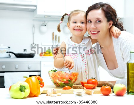 Mother and daughter cooking dinner in kitchen #85440880