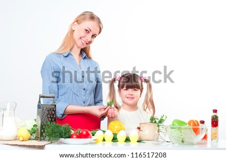 Mother and daughter cooking together, help children to parents