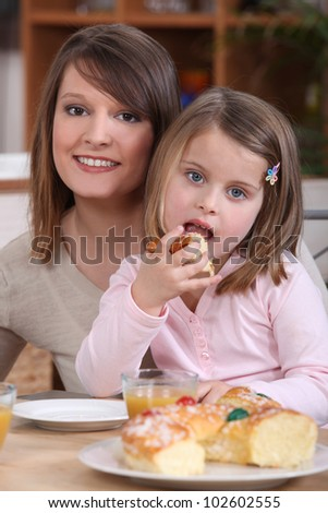 Mother and daughter eating cake