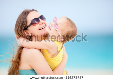 Mother and daughter enjoying sunny summer day