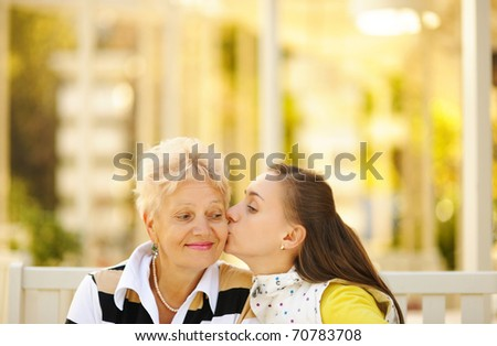 Mother and daughter having a good time together