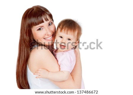 Mother and daughter hugging, isolated on white