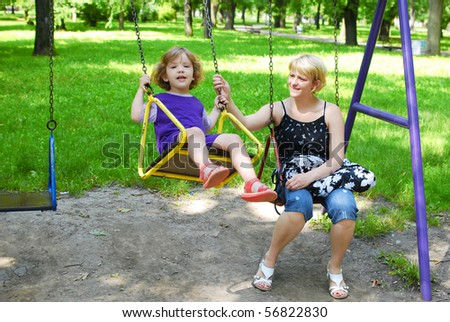 mother and daughter in the playground
