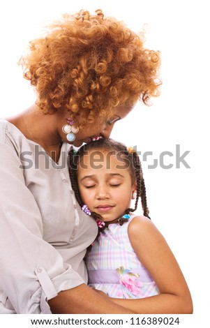 Mother and daughter, isolated on white