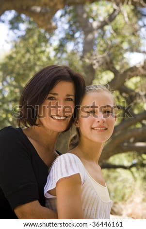 Mother and daughter outdoors on a Spring day