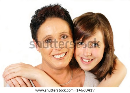 Mother and daughter portrait on white background