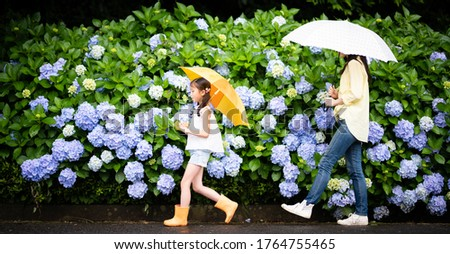 Mother and daughter walking together on the hydrangea road Stock photo ©