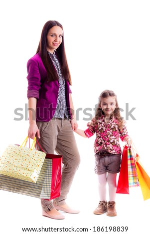 mother and daughter with   bags, isolated on white background