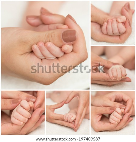 mother and father hold hand of baby. Collage