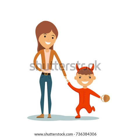 Mother and funny little kid in red costume of devil for Halloween isolated on white background. Happy Halloween, illustration.