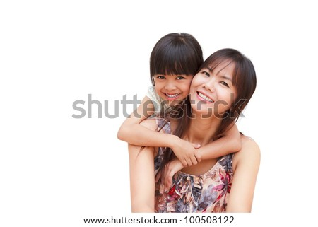 Mother and her little daughter embracing, Isolated on white