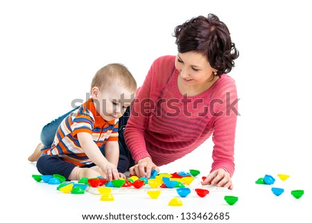 mother and kid play together