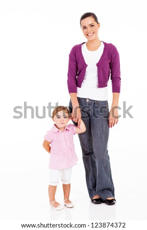 mother and little daughter full length portrait on white