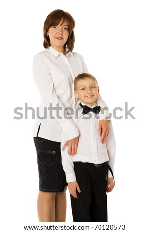Mother and seven years son together isolated on white