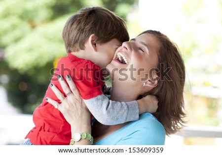 mother and son embraced