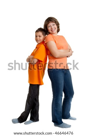 mother and son full length portrait on white background