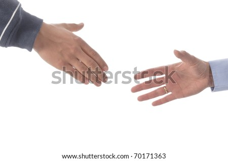Mother and son shaking hands, isolated on a white background.