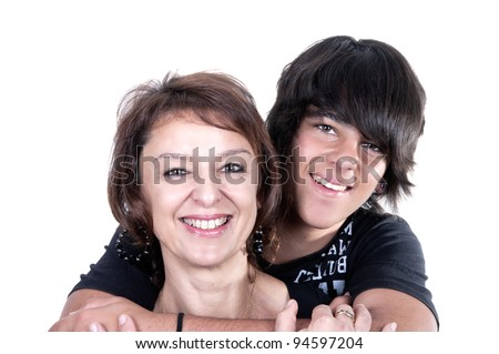 mother and son showing affection over a white background
