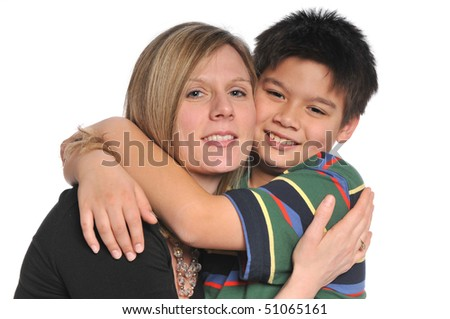 Mother and Son smiling and hugging isolated on a white background