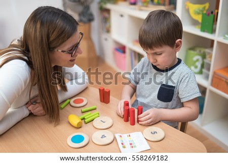 Mother and Son Spending Time Together Learning #558269182